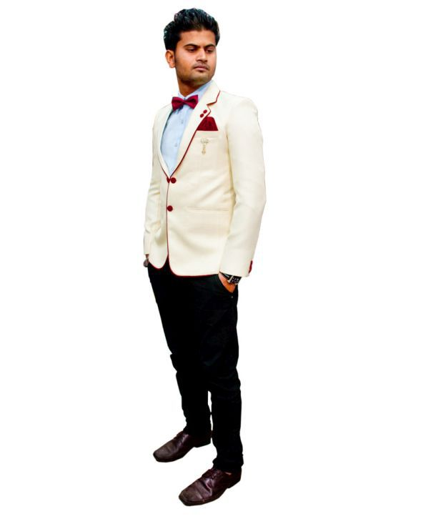 LC Creation White Cotton Blend Blazers For Men