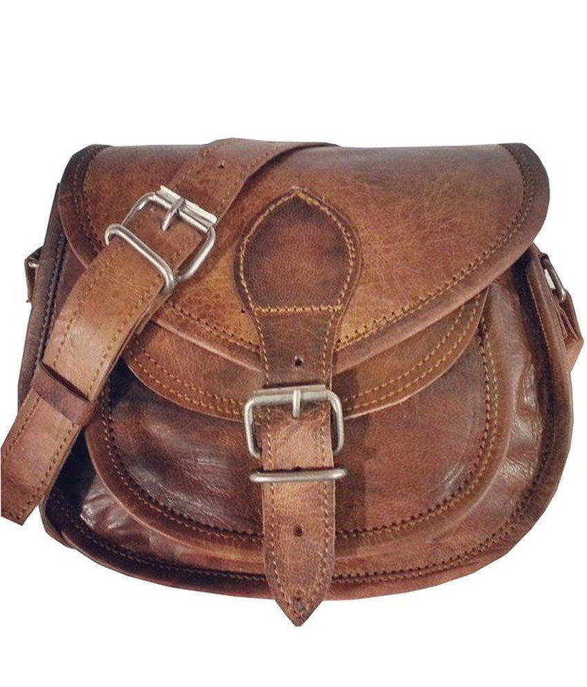 Reyu Brown Handmade Leather Sling Bag - Buy Reyu Brown Handmade ...
