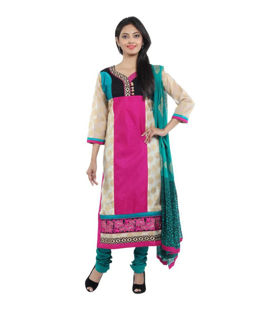 Sanskruti Creations Pink Cotton Embroidered Salwar Suit