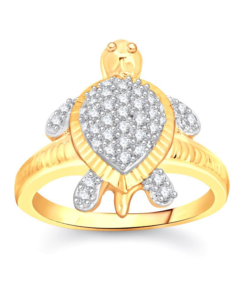 Vk Jewels Wonderful Tortoise Gold And Rhodium Plated Ring ...