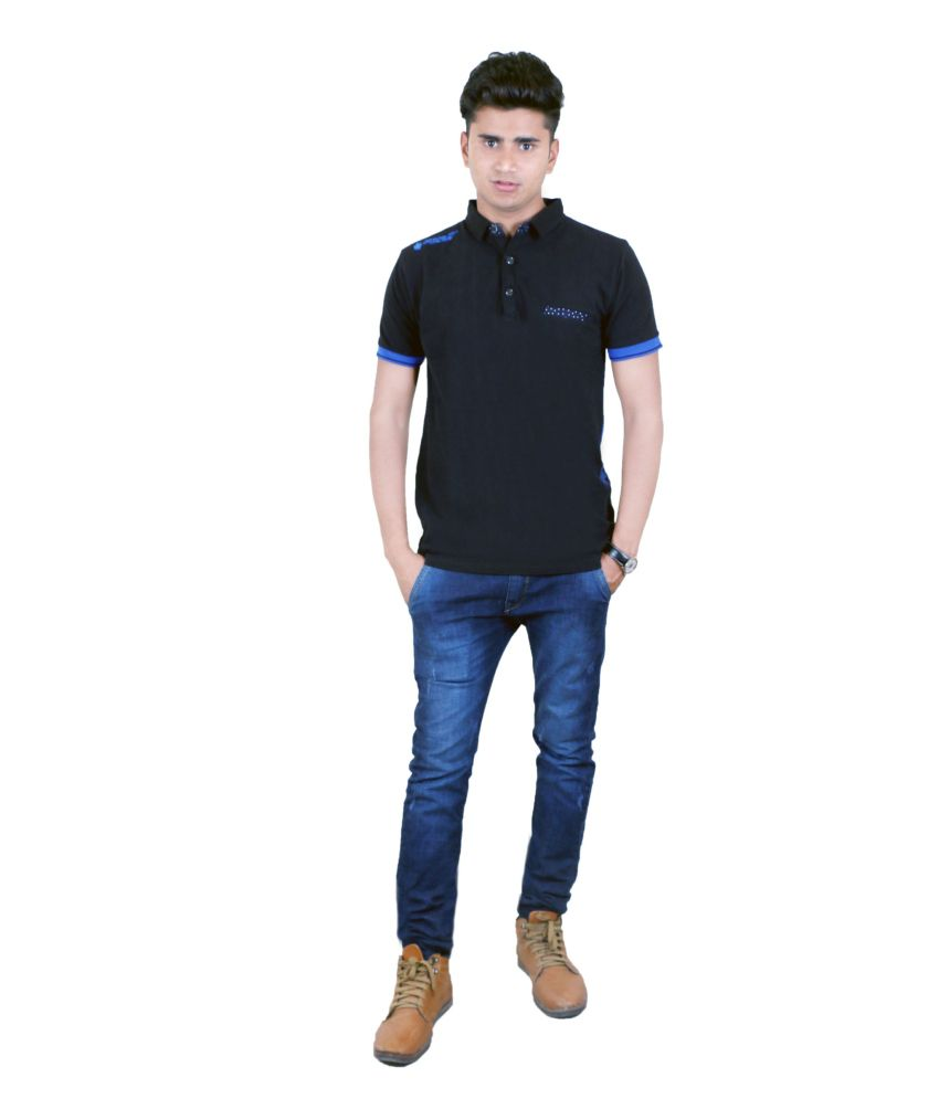 BUFF Cotton Blend Black Half T Shirt