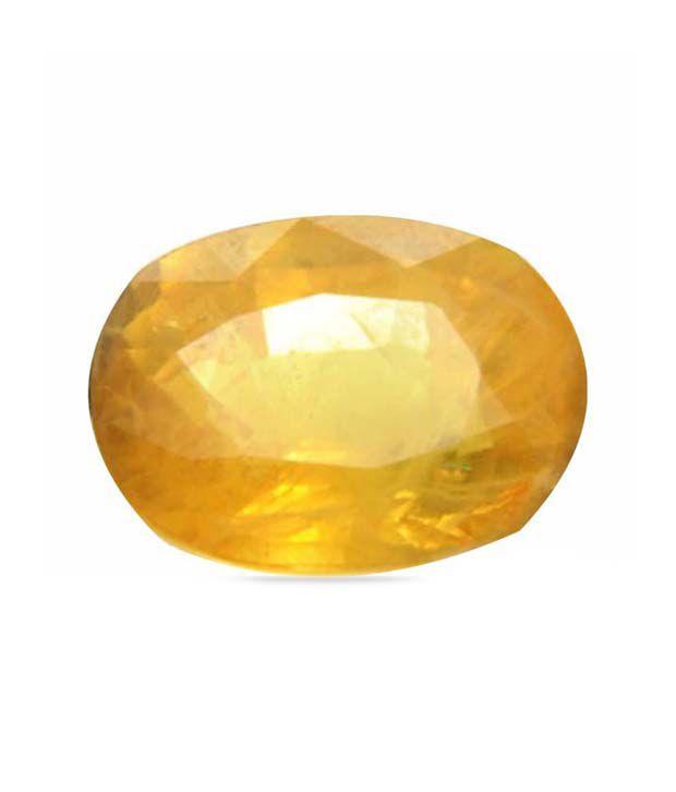 Anmol Ratna Certified Natural YELLOW SAPPHIRE / PUKHRAJ / GURU 14.85 Carat ( 16.25 Ratti nearly) gemstone, DELUX CATEGORY