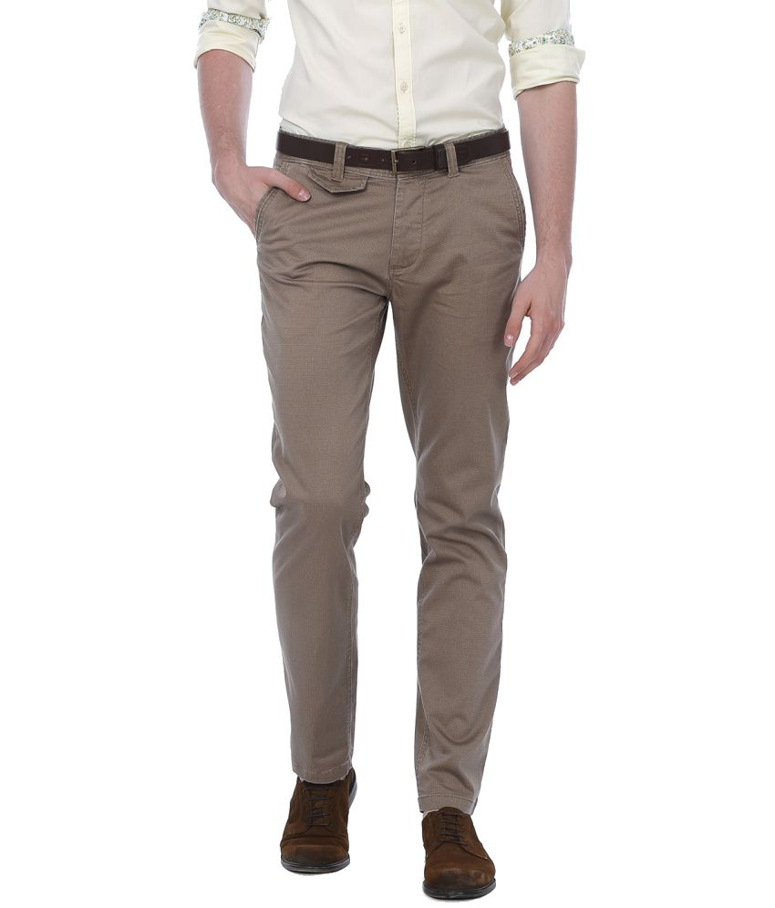 Basics Brown Cotton Blend Casual Trouser