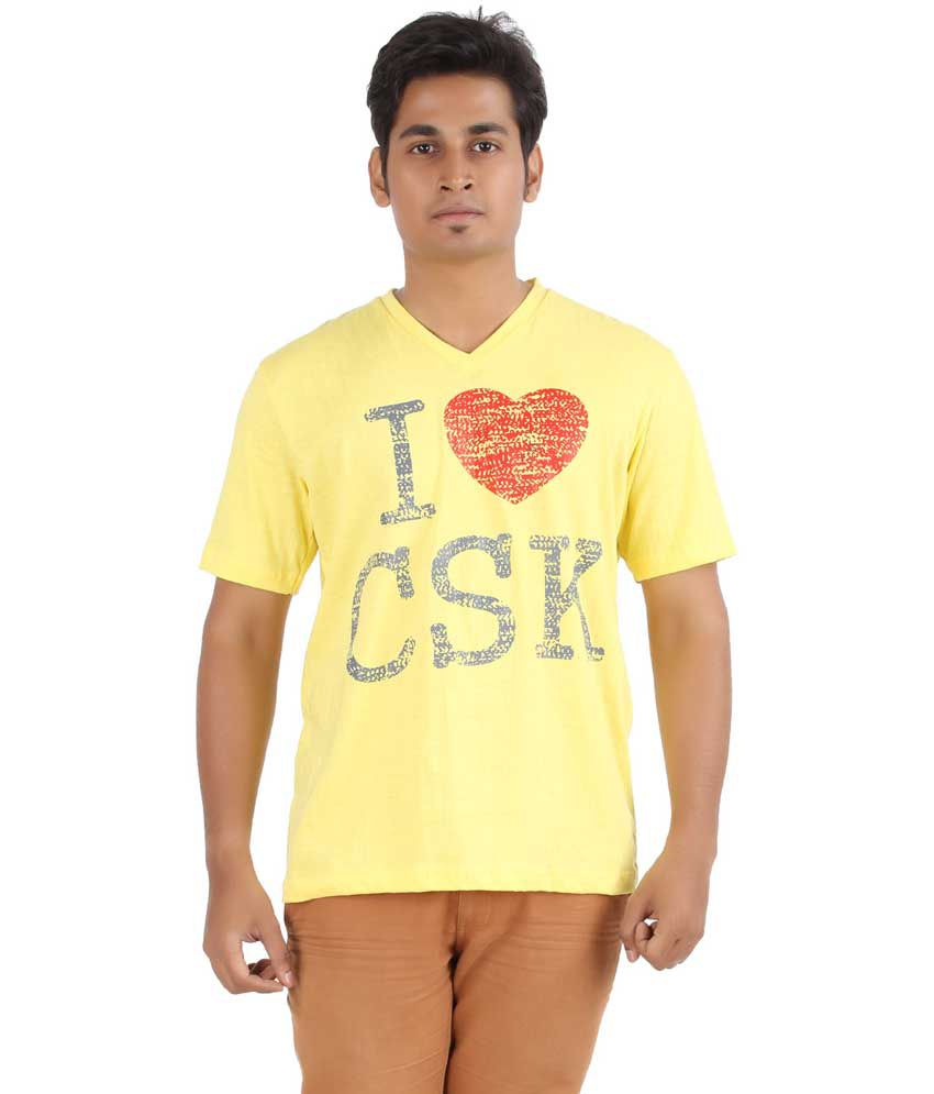 Dk Clues Yellow Cotton V-neck Half Sleeves T-shirt