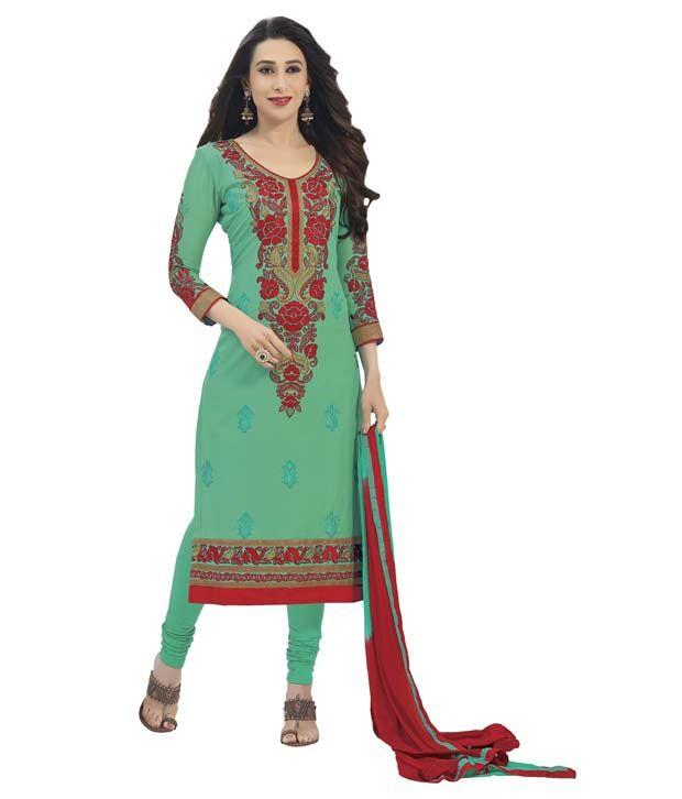 Khushali Green Cotton Regular Unstitched Dress Material