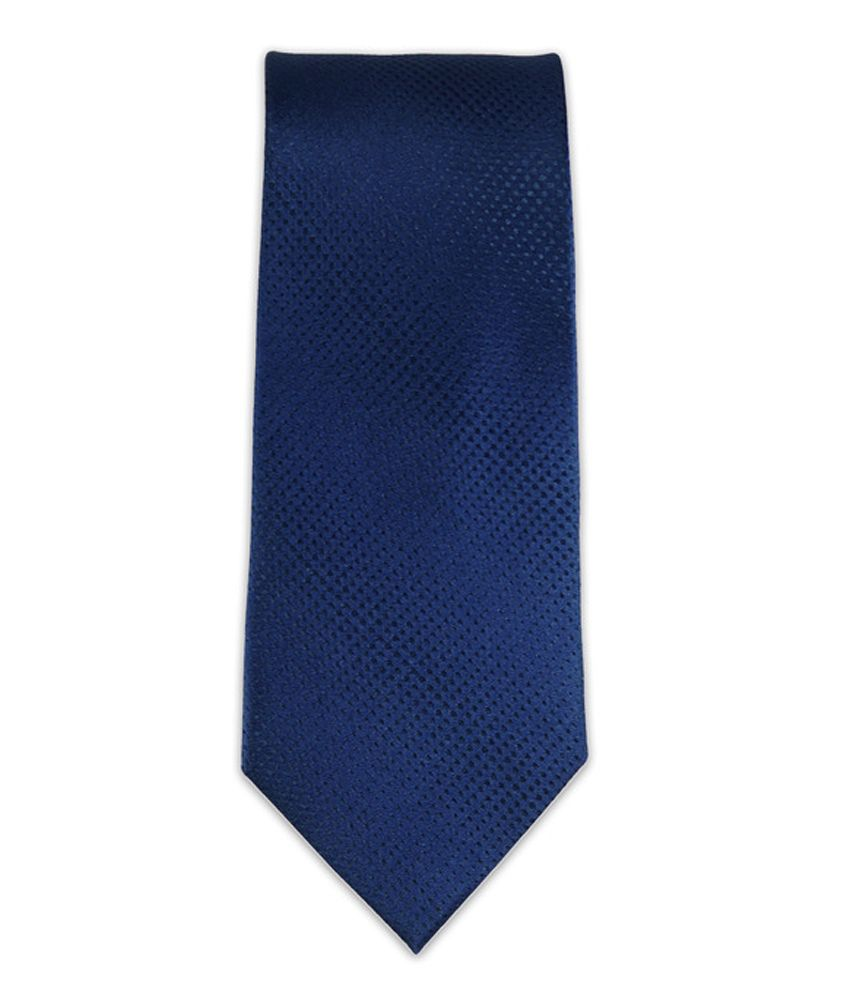 The Tie Hub Blue Micro Fiber Casual Skinny Tie