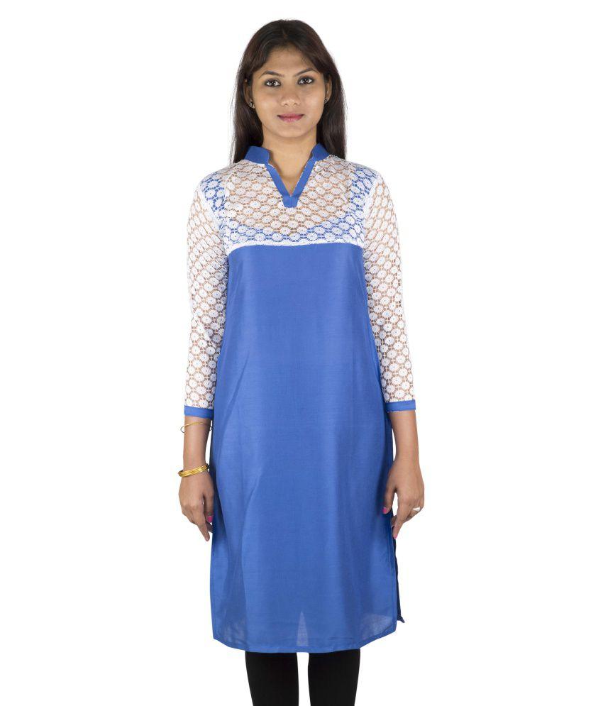 Yaari Cotton Blue Plain Women Kurti