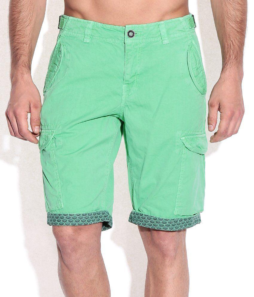 Being Human Green Cotton Shorts