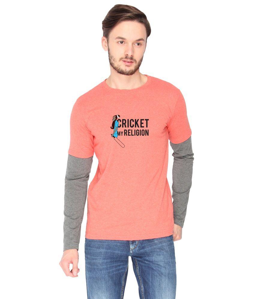 Campus Sutra Orange Cotton T-shirt (Cricket Religion)