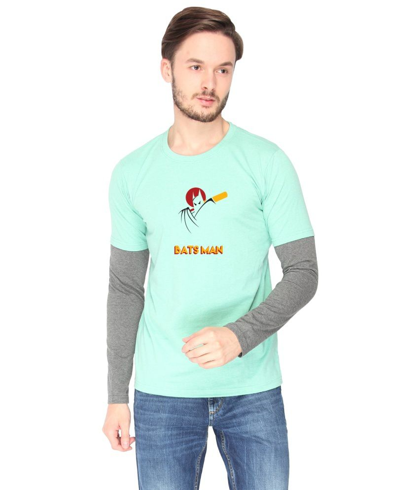 Campus Sutra Turquoise Cotton T-shirt (Batsman)