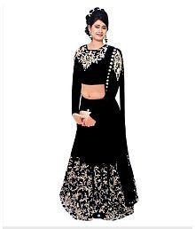 Fashion Book Black Embroidered Faux Georgette Semi Stitched Lehenga