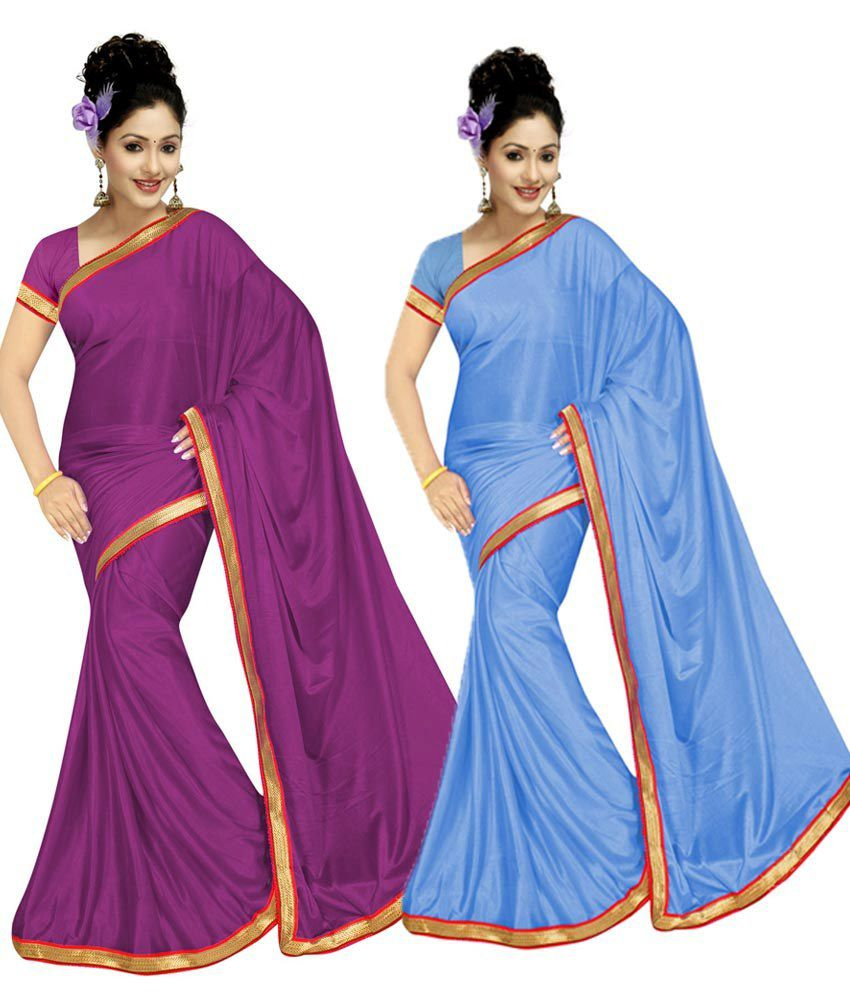 Gitanjali Fashions Combo Of 2 Faux Georgette Saree