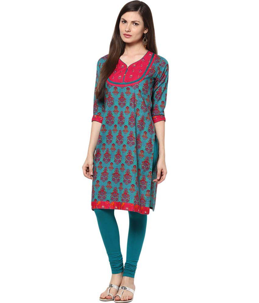 Indi Dori Green Printed cotton Round Neck Medium Women Beautiful Kurti