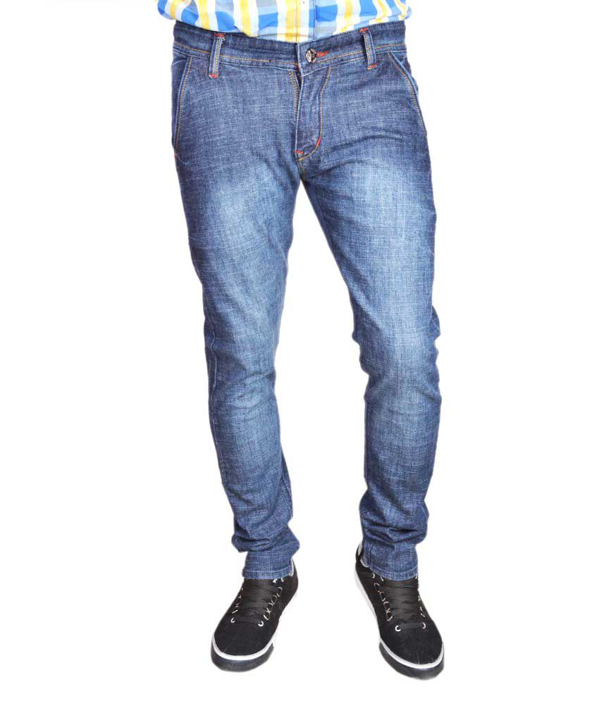 Juliet Blue Cotton Blend Regular Jeans For Men
