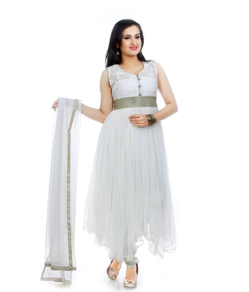 Manavi Circle White Net Embroidered Brocade Beautiful Anarkali Salwar Suit