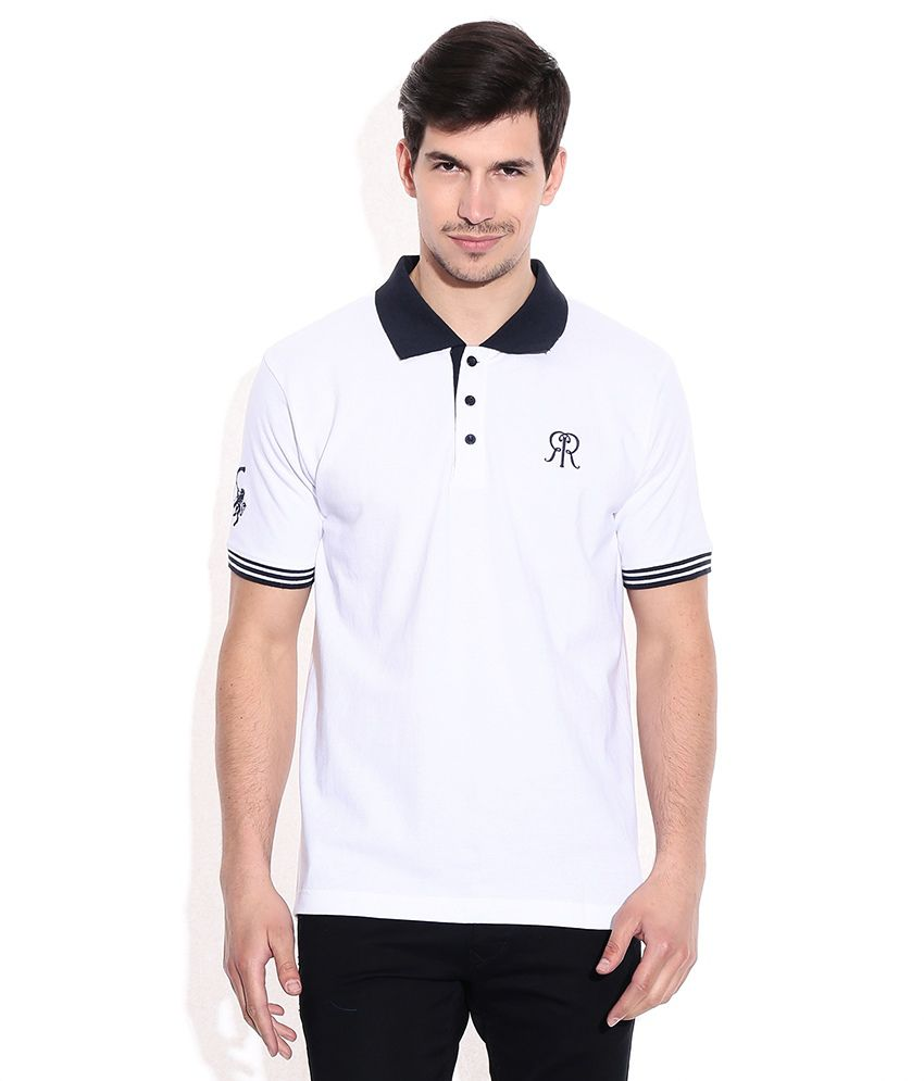 IPL T20 Rajasthan Royals Official Polo T-Shirts Mens - White (RR Logo)