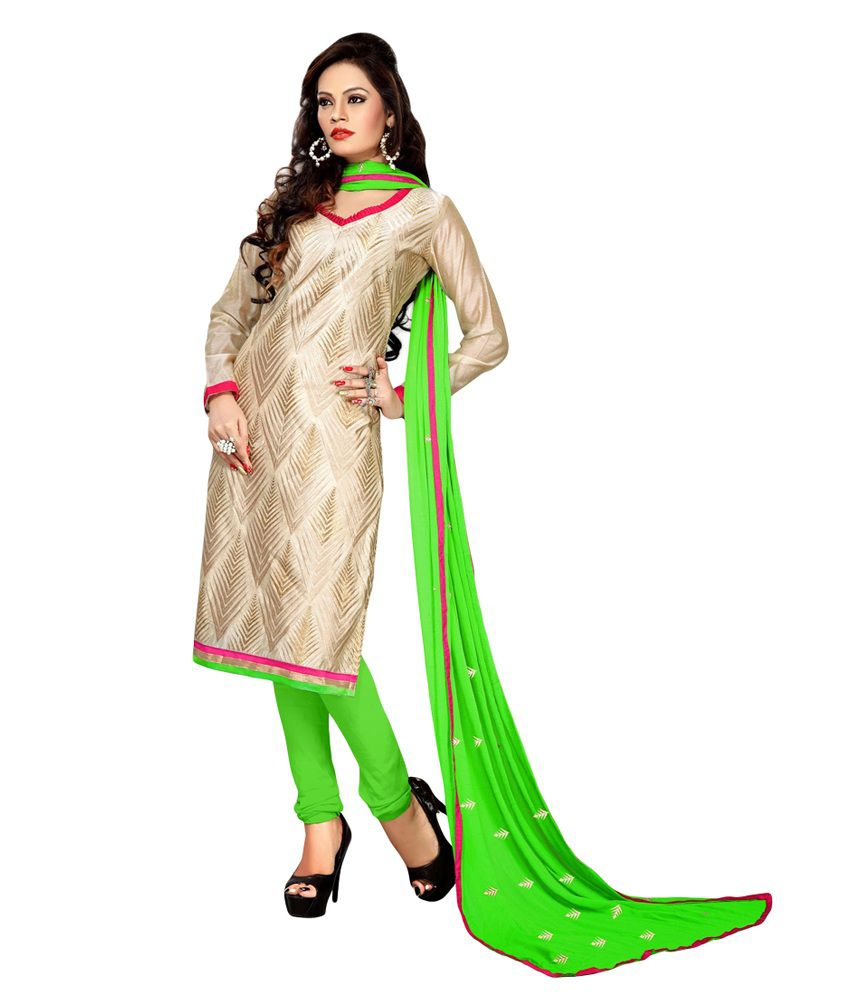 Rometic Fashion Green Faux Georgette Unstitched Dress Material