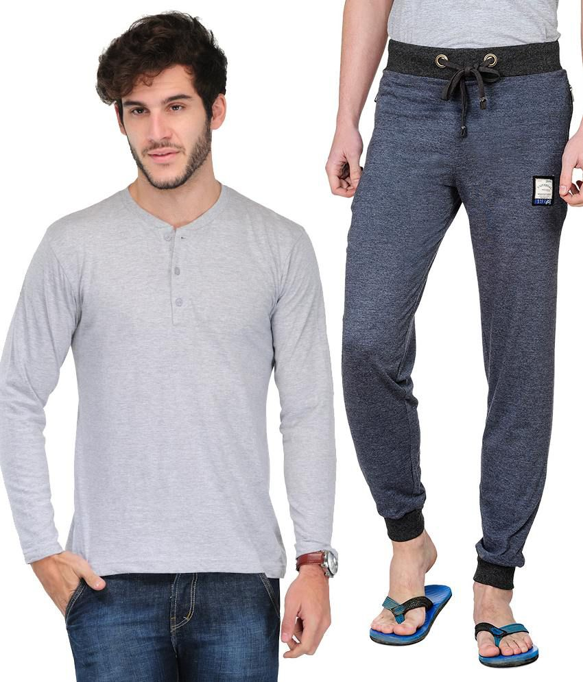 Tsx Cotton Henley And Track Pant Combo