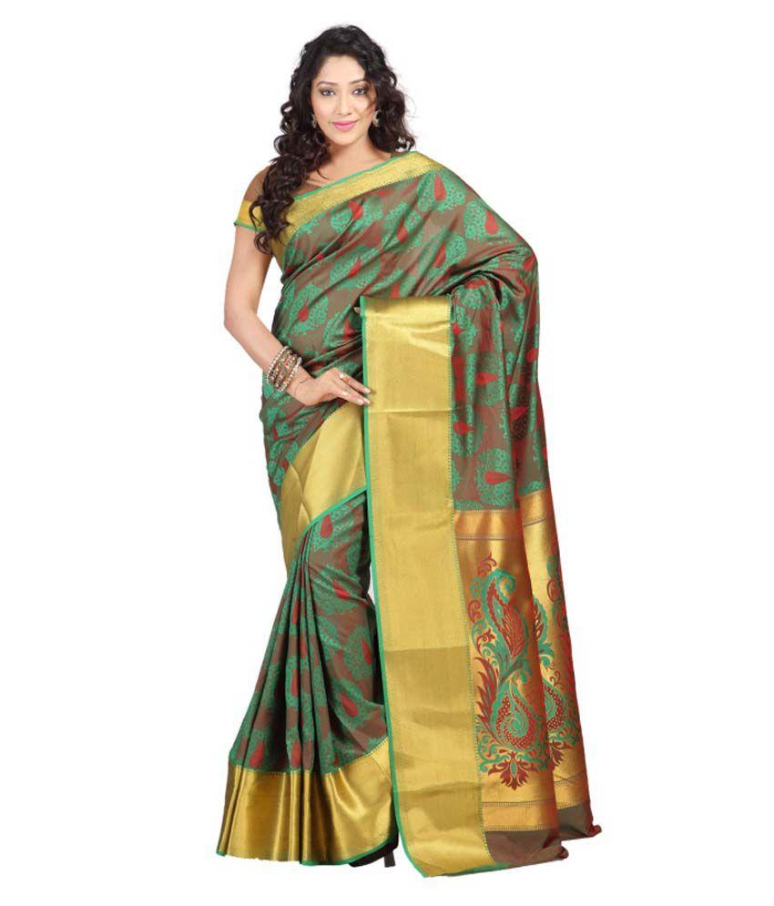 Varkala Silk Sarees Green Art Silk Sarees
