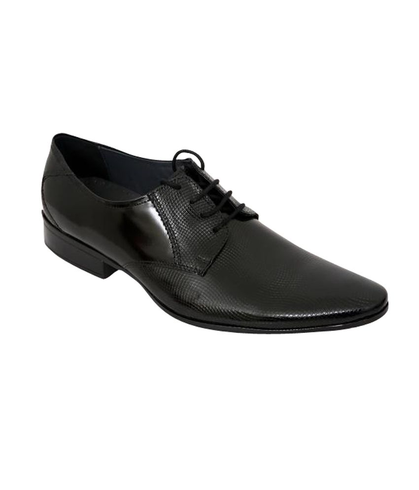 aura shoes black leather lace formal shoes price in