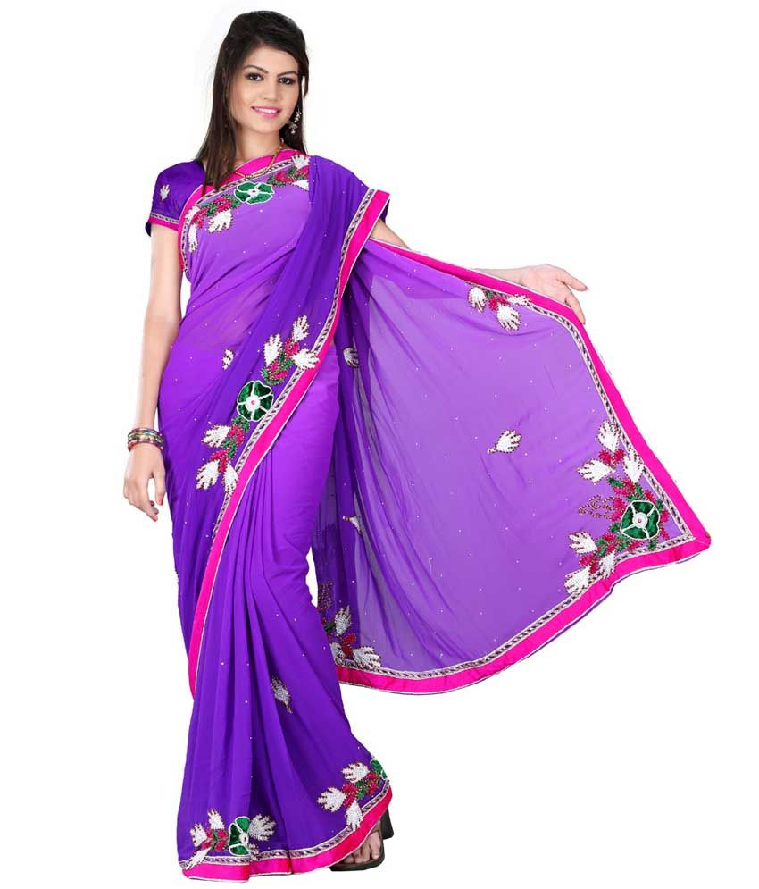 Bawri Fashion Blue Border Work Pure Georgette Saree with Blouse Piece
