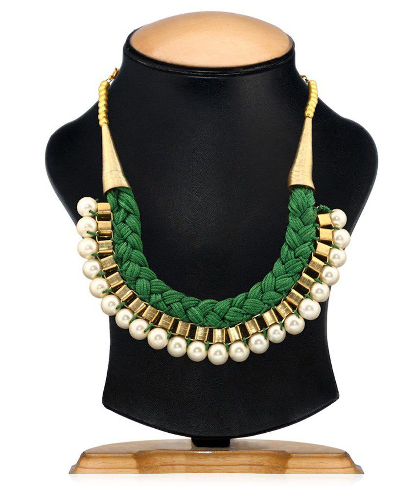 Renaissance Traders Contemporary Maharani Antique Alloy Green And Gold Necklace