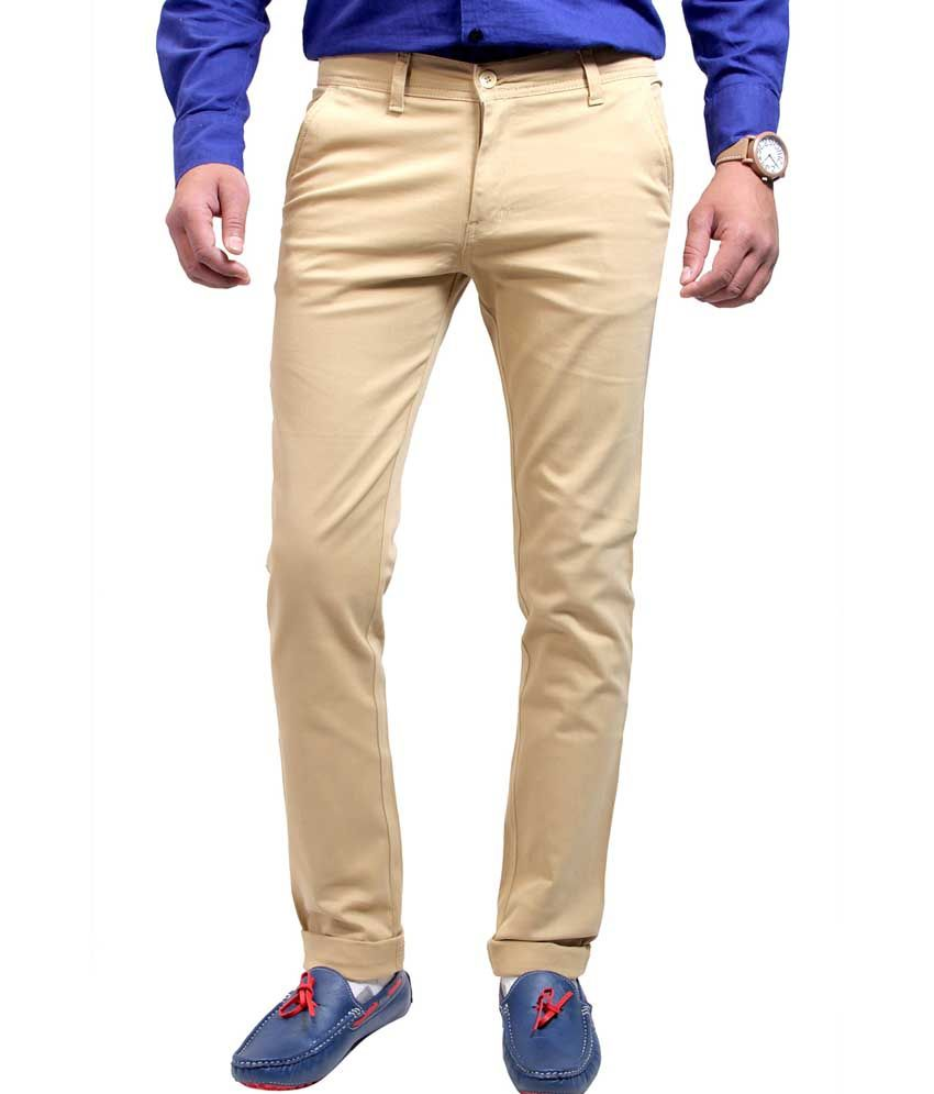Routeen Beige Cotton Blend Slim Fit Chinos Casual Trousers