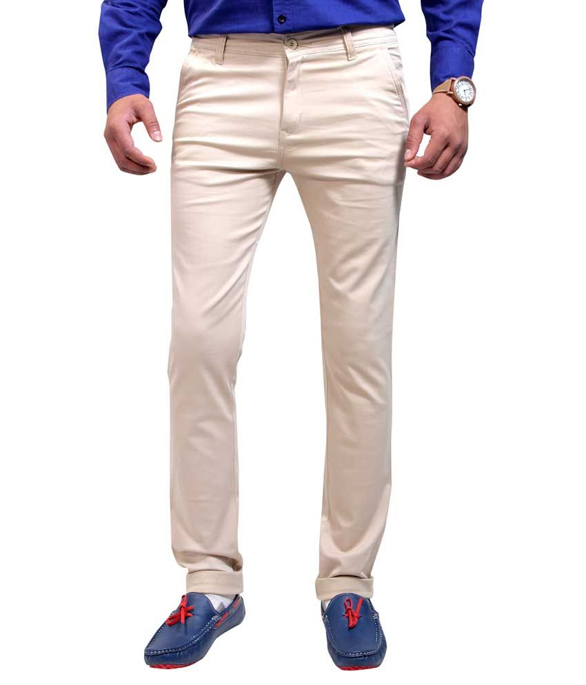 Routeen Beige Cotton Lycra Slim Fit Chinos Casual Trousers