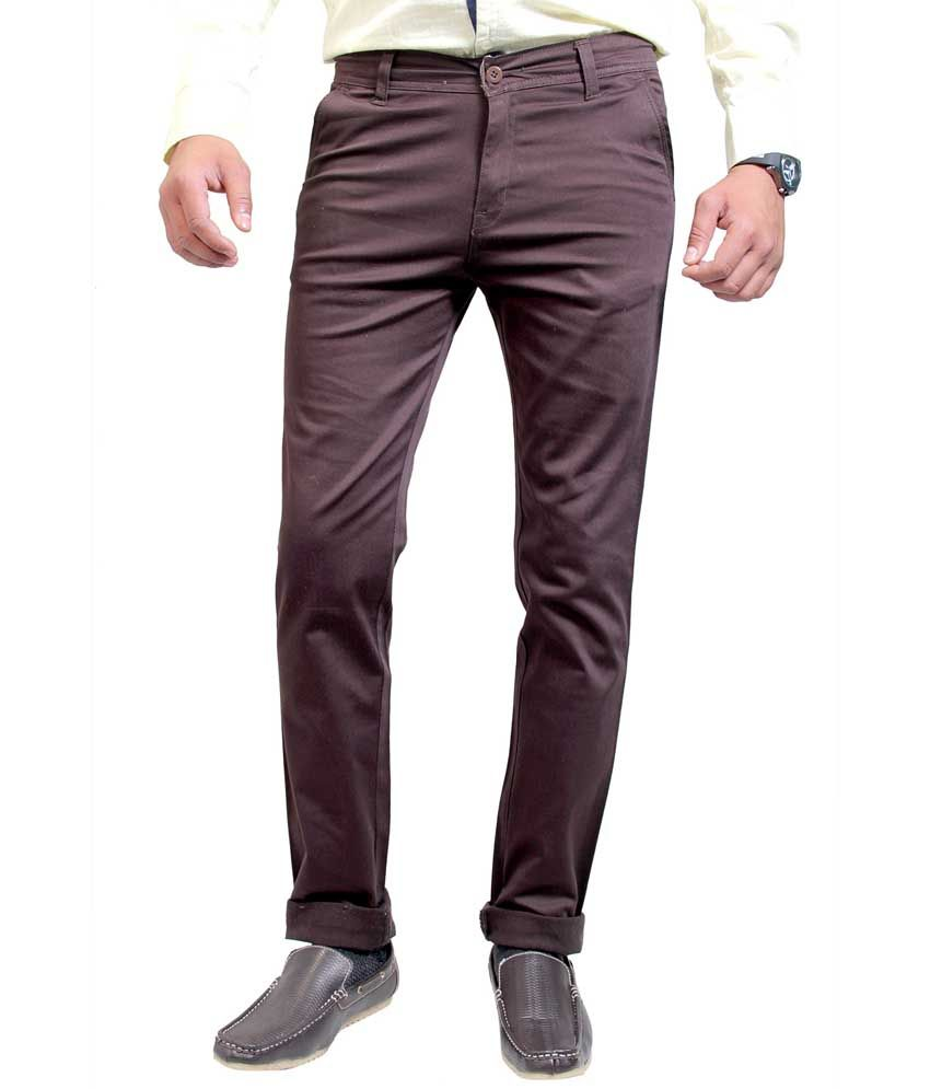Routeen Brown Cotton Lycra Slim Fit Chinos Casual Trousers