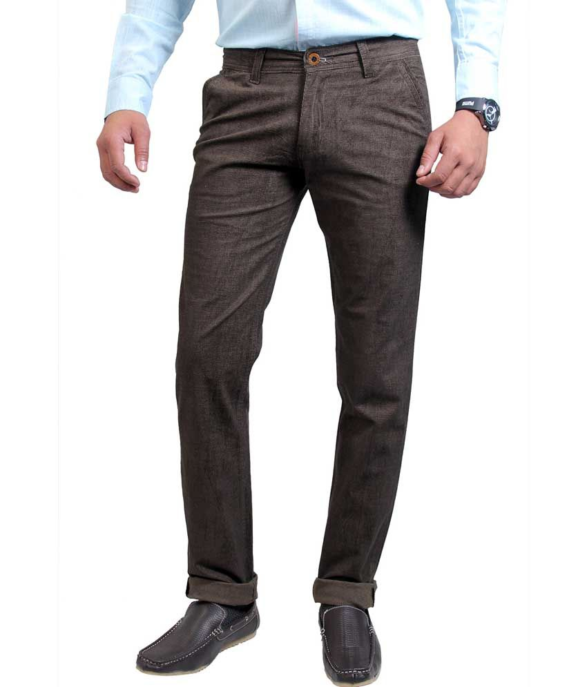 Routeen Green Cotton Lycra Slim Fit Corduroy Casual Trousers