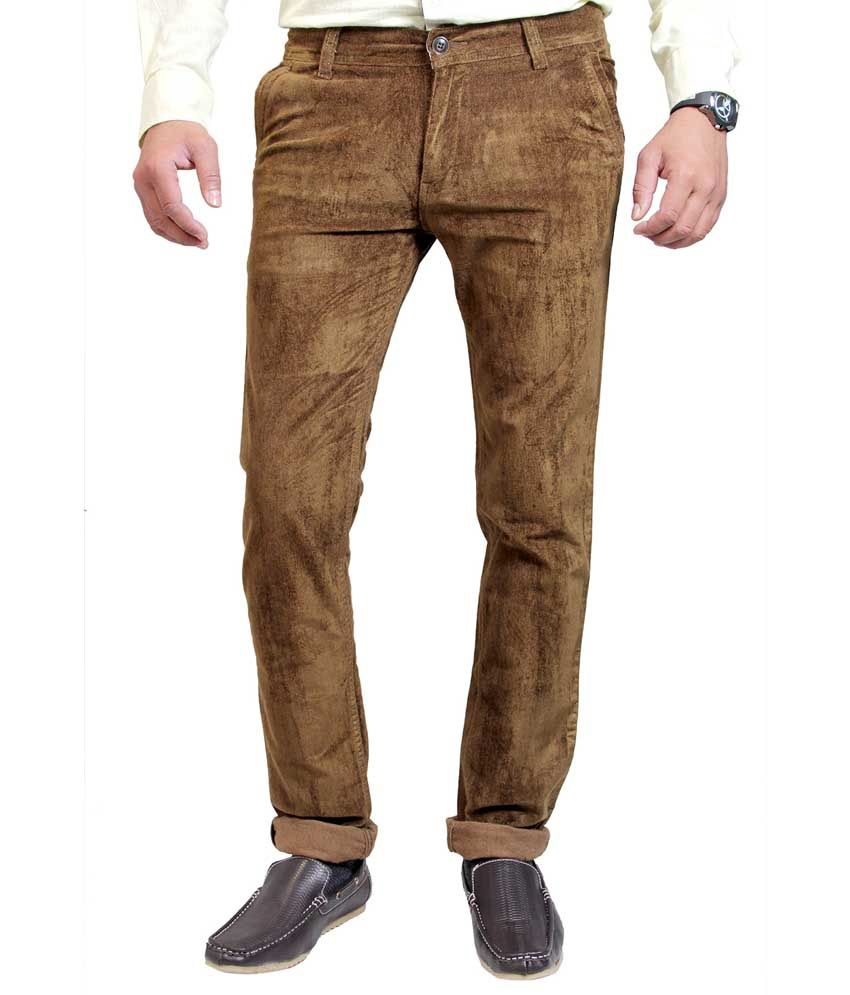 Routeen Khaki Cotton Lycra Slim Fit Corduroy Casual Trousers