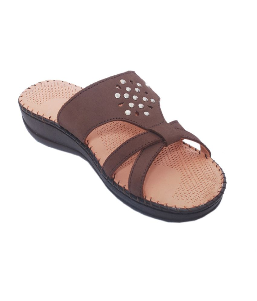 Aura Shoes Brown Round Toe Flat Women Sandal