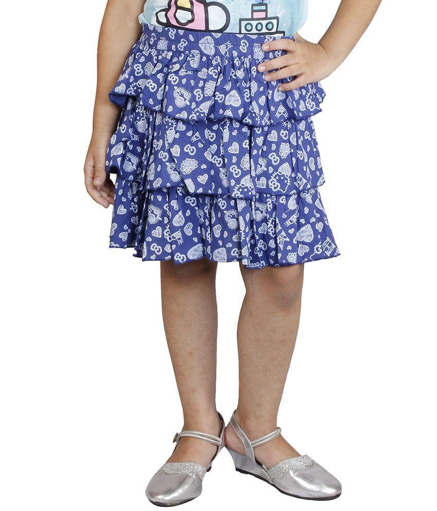 Hellokitty Blue Cotton Printed Elastic Skirts