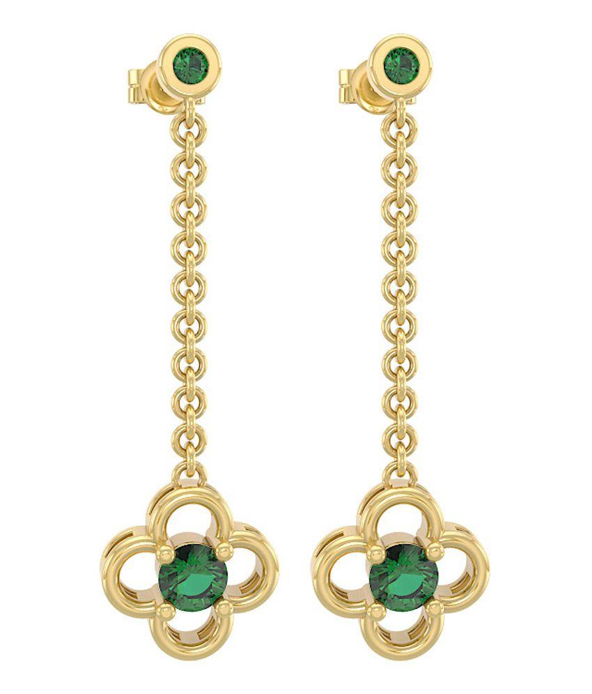 Incocu Jewellery 18kt Gold Emerald Drop Earrings