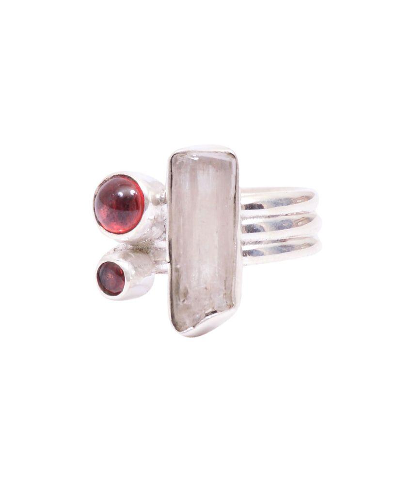 Rubera Hallmark Silver Ring With Quartz And Garnet Stone