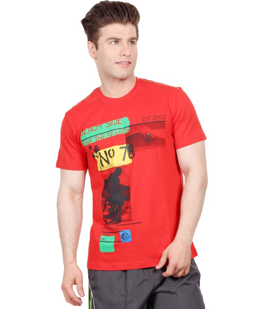 Fitz Red Round Neck Half T Shirt