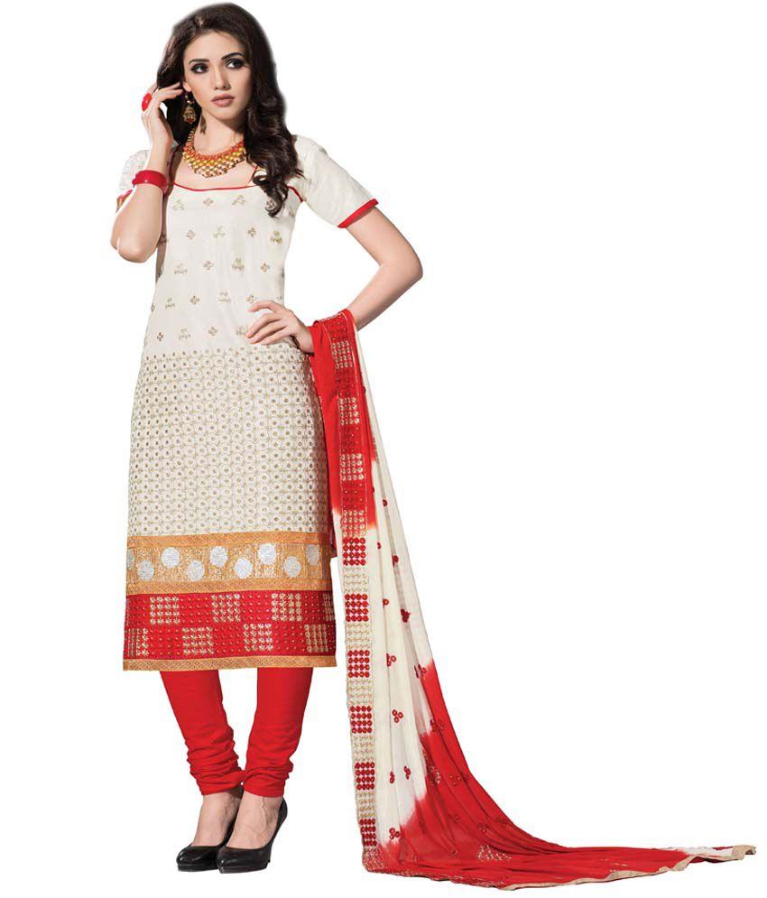 Panghat White Cotton Unstitched Dress Material