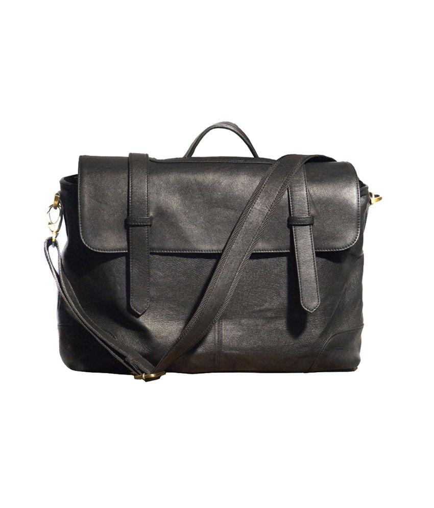 Crabrock Leather Laptop Bag - Black