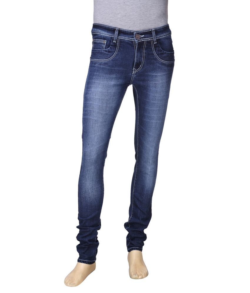 First Soul Blue Cotton Blend Jeans