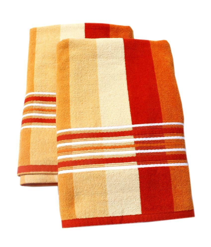 Mandhania Orange Fusion Striped Bath Towel Buy Mandhania