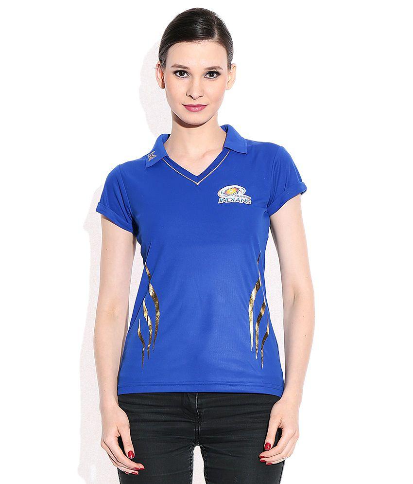 IPL T20 Mumbai Indians Official Women's Blue Johny Collar T-Shirt