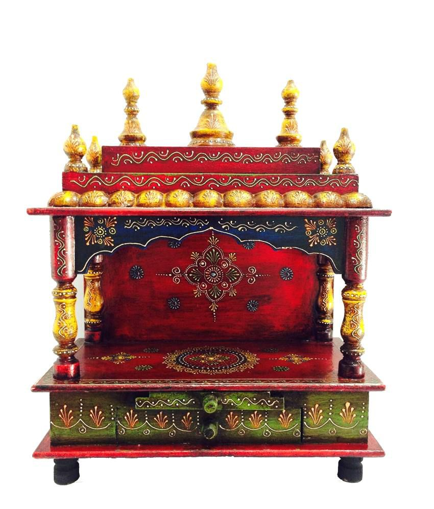 Shivay Arts Handcrafted Religious Painted Wooden Temple