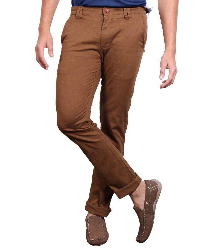 Solemio Brown Cotton Lycra Slim Casuals Chinos