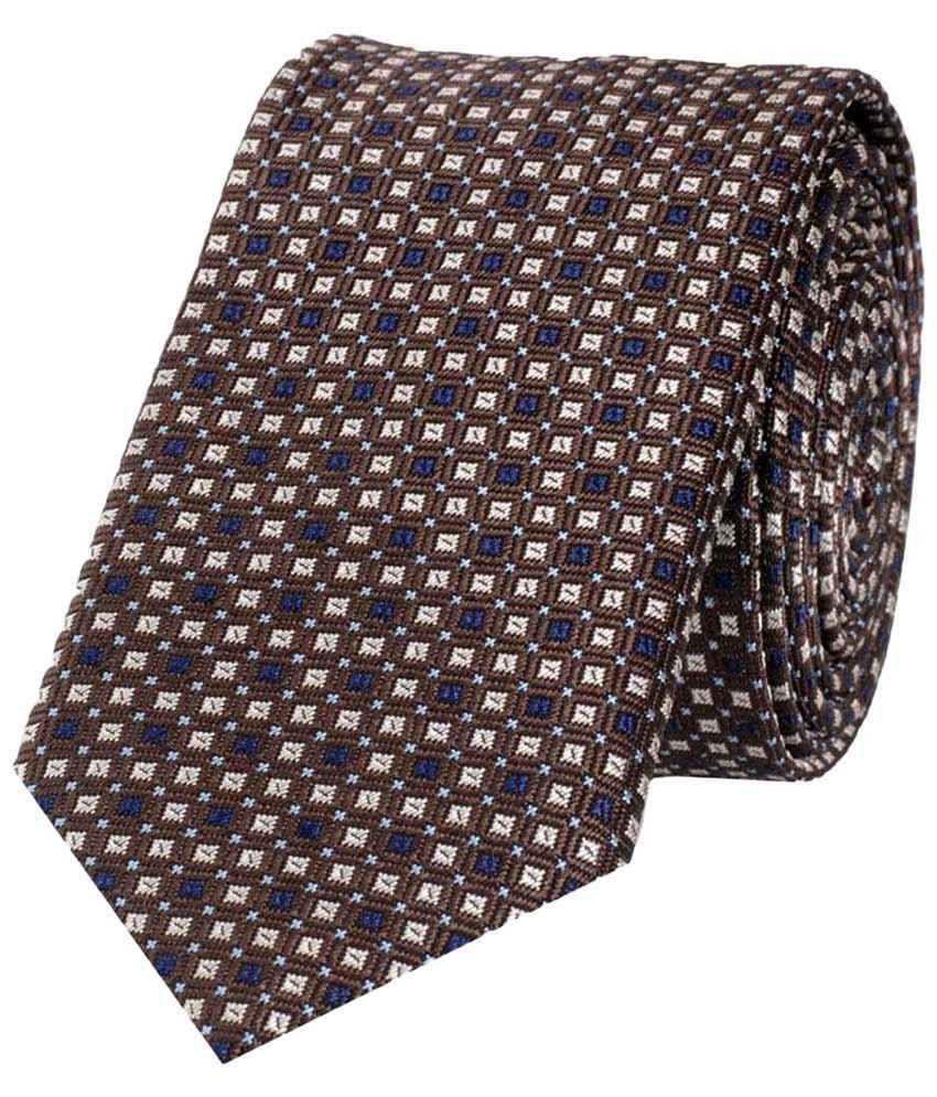 Tiekart Micro Fibre Brown Square Neck Tie