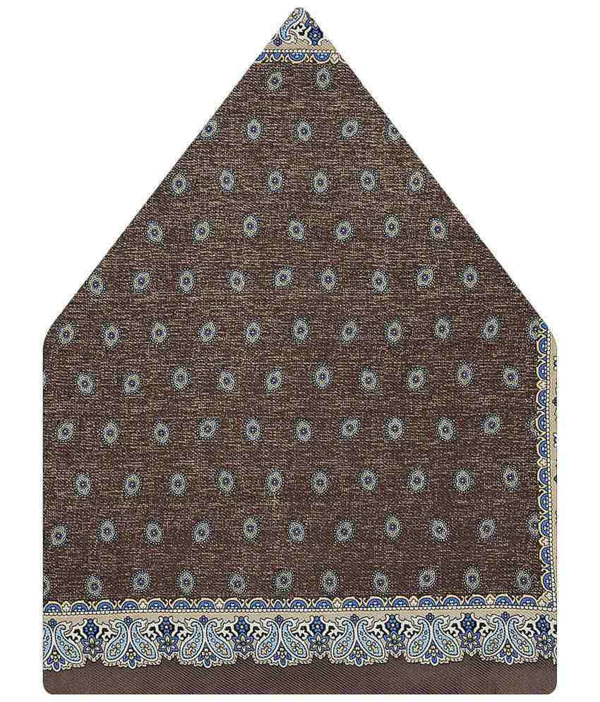 Tiekart Silk Brown Paisley Pocket Square