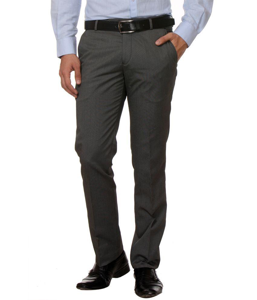 John Players Gray Men's Slim Fit Formal Trouser