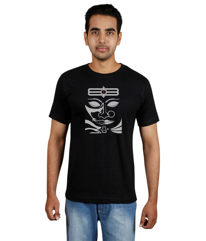 Meedo Black Cotton Shivan Printed Half T-shirt Men's