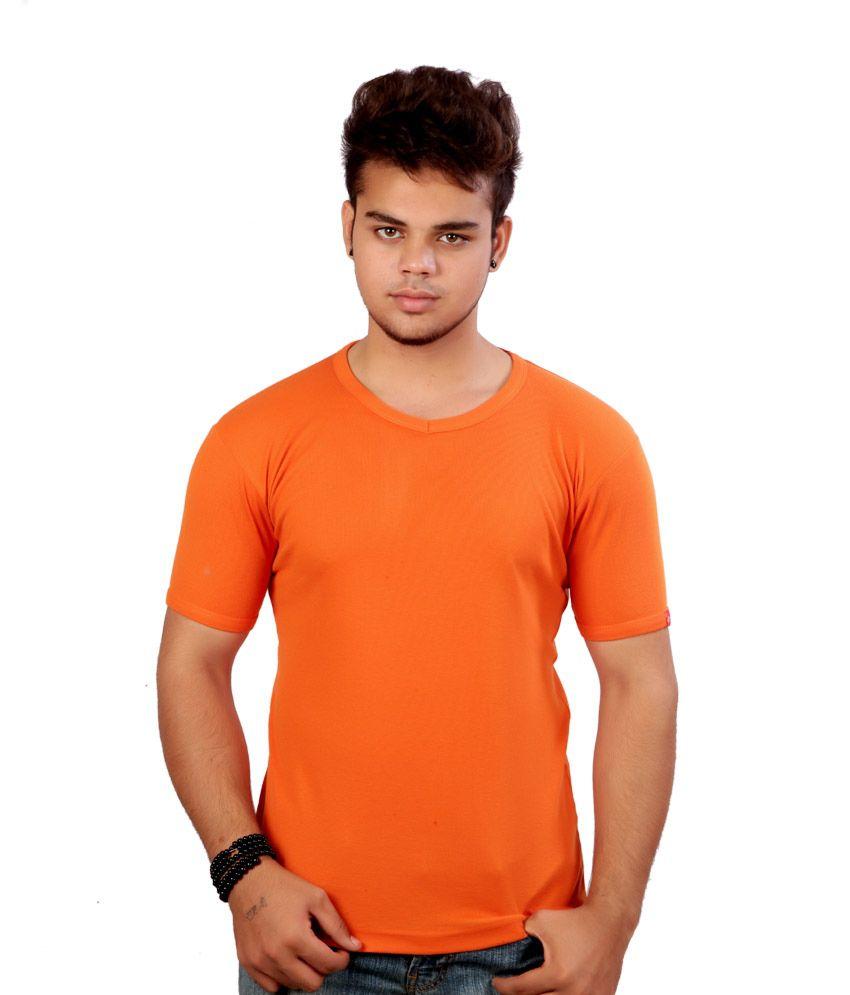 Power Manager Orange Cotton Blend Round Neck T Shirt For Men