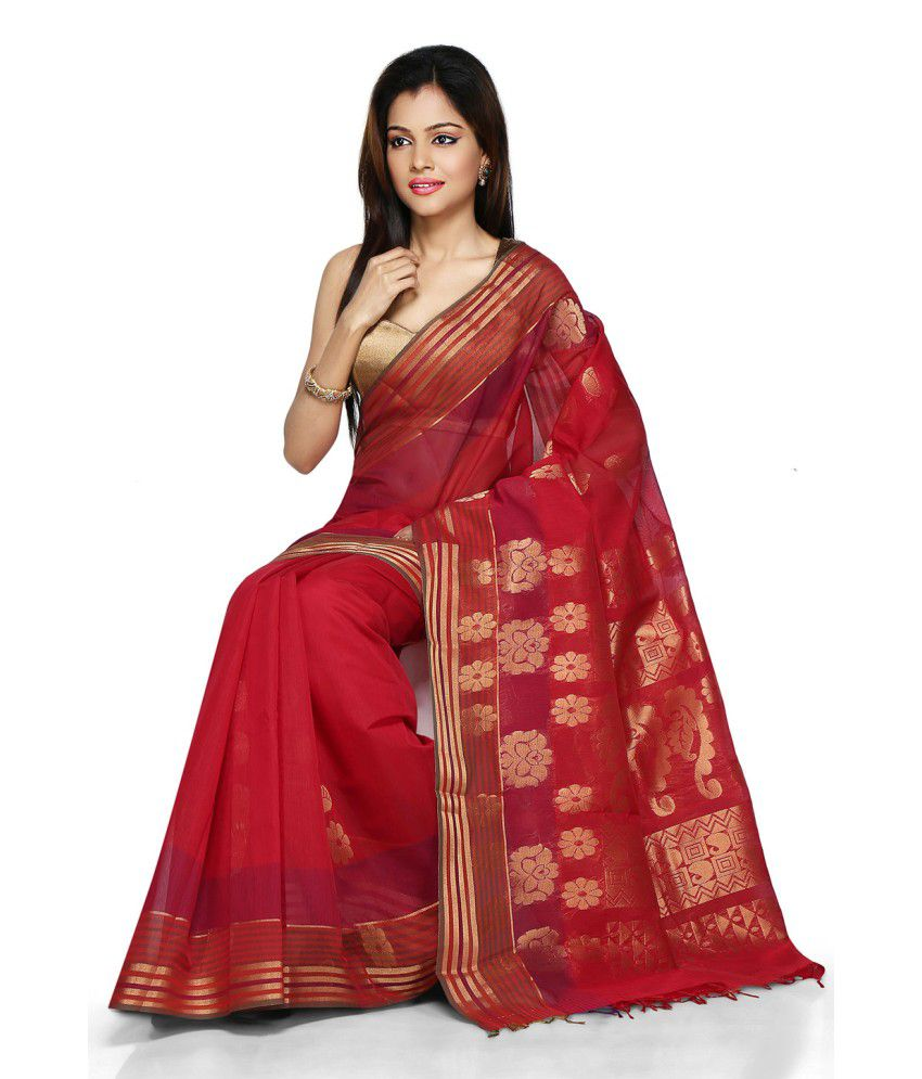 Pratami Red Silk Chettinad Saree
