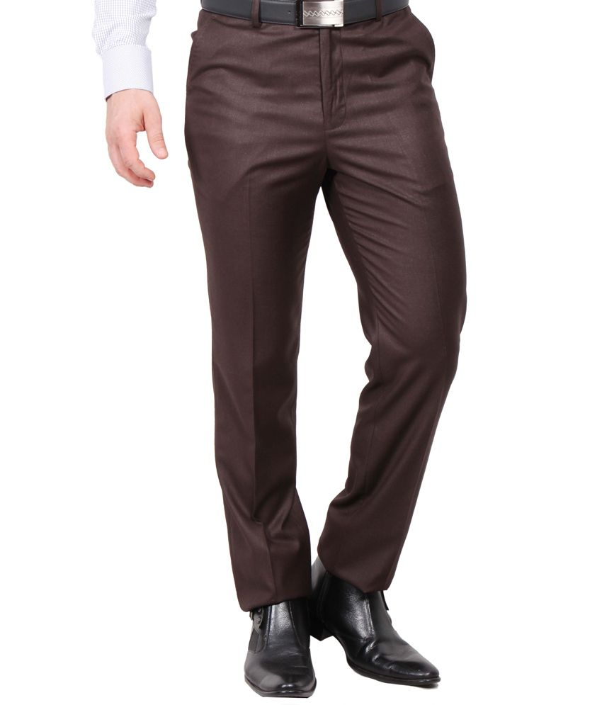 Solemio Brown Poly Viscose Formal Pant